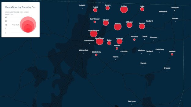 Map of Connecticut Homes Reporting Crumbling Foundations