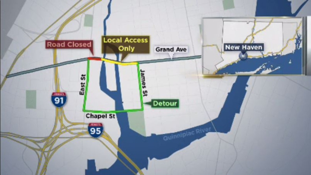 Grand Avenue in New Haven Closed for Construction