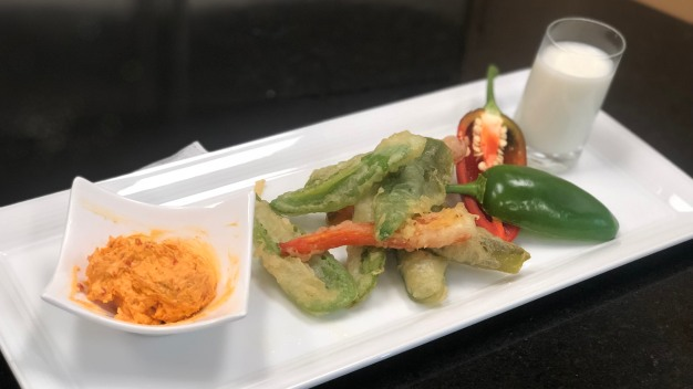 Fried Jalapenos with Roasted Sweet Red Pepper Sauce
