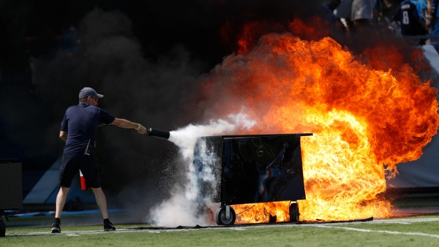 Tenn. Titans Pregame Pyrotechnics Start Small Fire