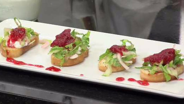 Open Faced Sandwich of Pickled Rhubarb and Cottage Cheese