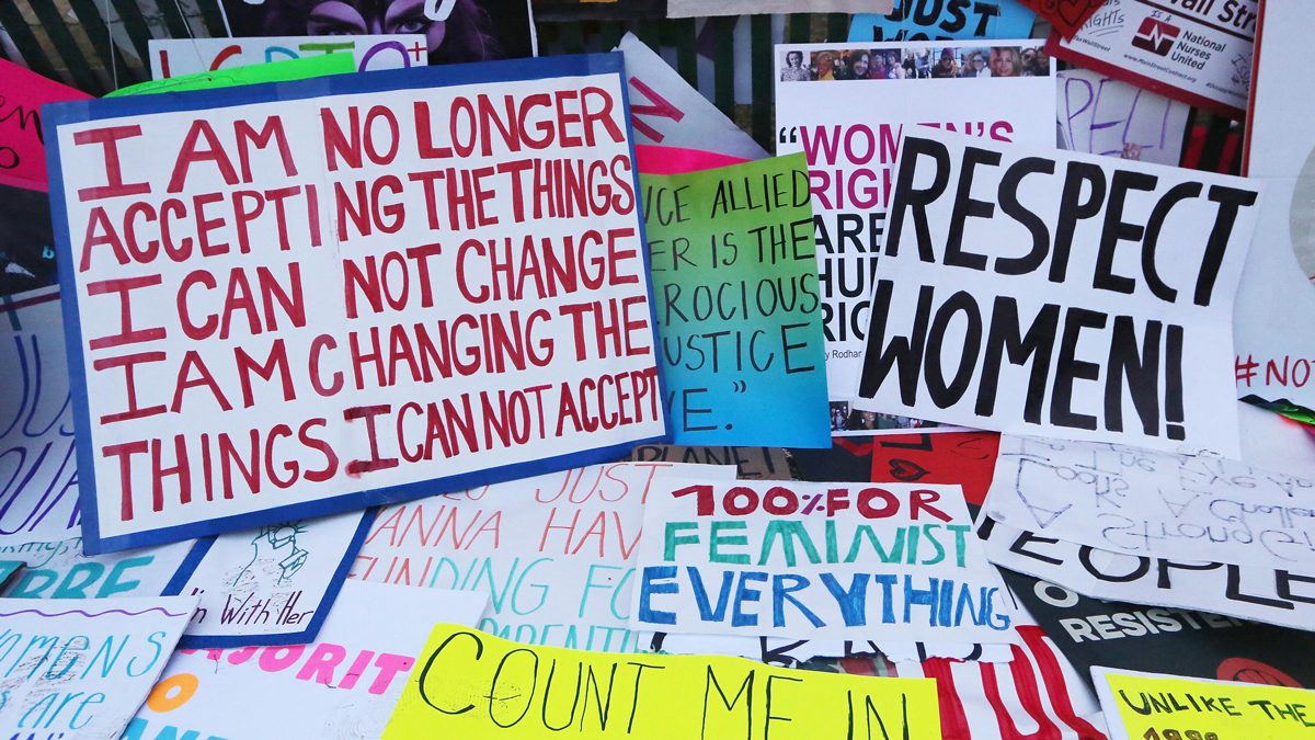 Protesters' signs are left near the White House during the Women's March on Washington on Jan. 21, 2017. The official Twitter account for the Women's March sent out a tweet calling for a