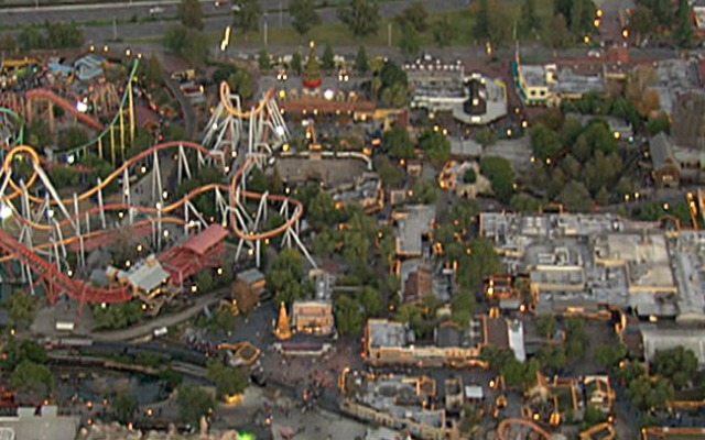 An aerial photo shows Knott's Berry Farm in Buena Park on Sunday, Dec. 30, 2012, the day three people were wounded when a wheel came off a stagecoach.