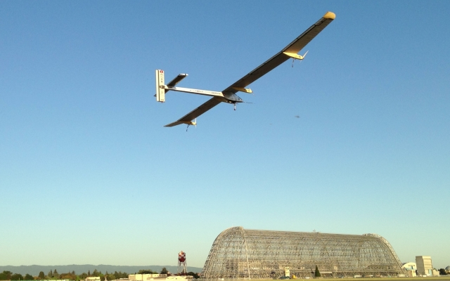 Solar Impulse takes off from Moffett Field on May 3, 2013. It is bound for New York.