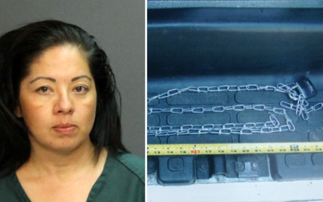 A woman was arrested Thursday, July 18, 2013, after her 10-year-old son was found with a chain locked around his ankles, crying and in pain, Santa Ana police said.