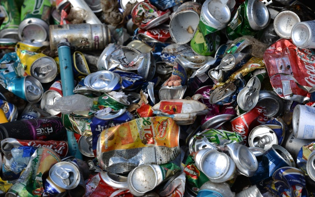View of empty cans to be recycled.