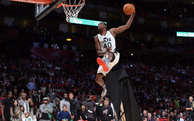 Jeremy Evans of the Utah Jazz jumps over a painting of himself in the final round during the Sprite Slam Dunk Contest, a part of 2013 NBA All-Star Weekend at the Toyota Center on February 16, 2013 in Houston, Texas.