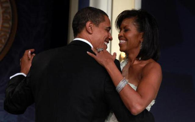 President Obama and First Lady Michelle Obama dance on stage during MTV's Inaugural Ball at the Hilton Washington on January 20, 2009. (Photo by Mark Wilson/Getty Images)