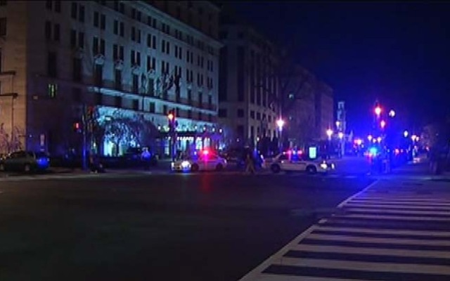 Scene of a Secret Service and police investigation into a suspicious vehicle near the White House Wednesday morning.