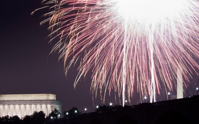 A view of fireworks above the Lincoln Memorial. But what's legal in your neighborhood? Liz Crenshaw reports.  (Photo by Brendan Smialowski/Getty Images)