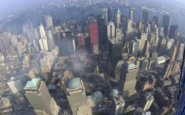 An aerial view of ground zero on Sept. 22, 2001.