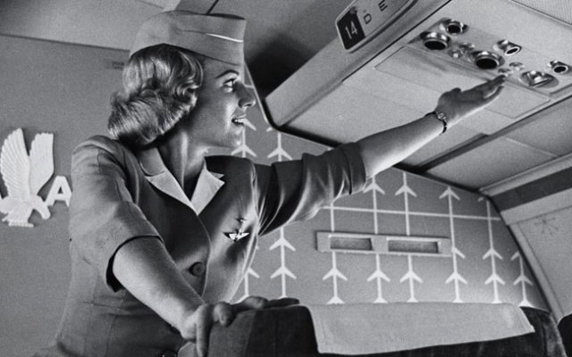 Flight Attendant onboard the Boeing 707. Photo Credit: Facebook.com/AmericanAirlines