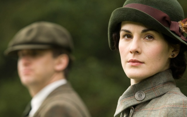 In this image released by PBS, Dan Stevens as Matthew Crawley, left, and Michelle Dockery as Lady Mary are shown in a scene from the second season on