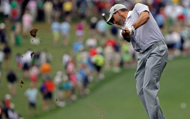 Sergio Garcia, of Spain, hits off the first fairway during the second round of the Masters golf tournament Friday, April 12, 2013, in Augusta, Ga. (AP Photo/David J. Phillip)