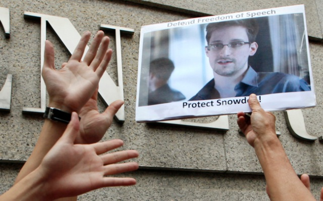 A photo of Edward Snowden. Articles about Snowden and the NSA leaks were not available to employees at the Presidio of Monterey.