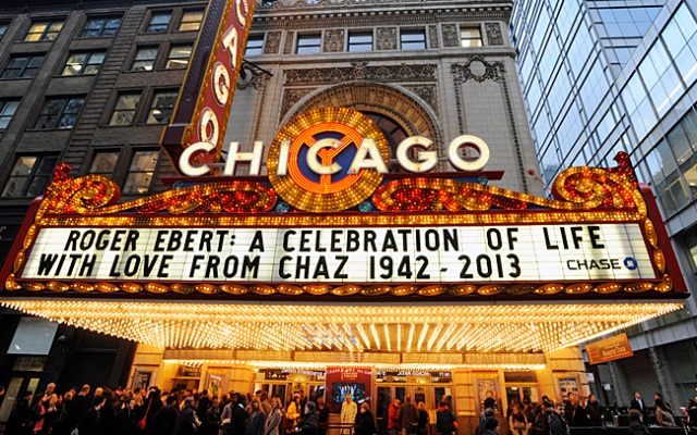 The Chicago Theatre marquee before a memorial for film critic Roger Ebert in Chicago, Thursday, April 11, 2013.