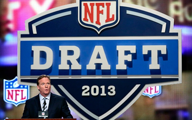 NFL Commissioner Roger Goodell opens the NFL football draft, Thursday, April 25, 2013, at Radio City Music Hall in New York. (AP Photo/Mary Altaffer)