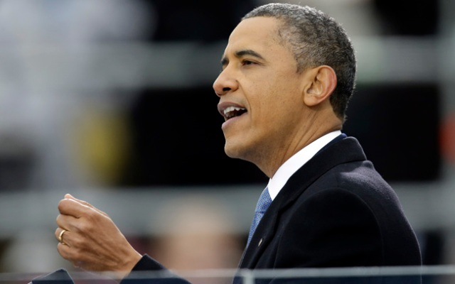 President Barack Obama delivers his Inaugural address at the ceremonial swearing-in at the U.S. Capitol during the 57th Presidential Inauguration in Washington, Monday, Jan. 21, 2013.
