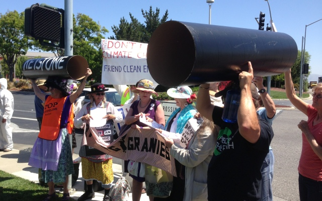 Protest at Facebook over the Keystone XL Pipeline. May 1, 2013.