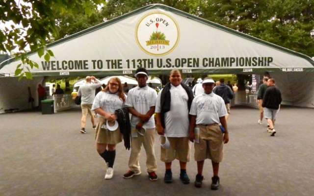 June 10, 2013: (L to R) Memphis Street Academy Charter School Students Samantha Bruce-13, Travonne Williams-15, Jahyde Diggs-13, Wayne Harrell-12 attend practice rounds of the U.S. Open at the Merion Golf Club