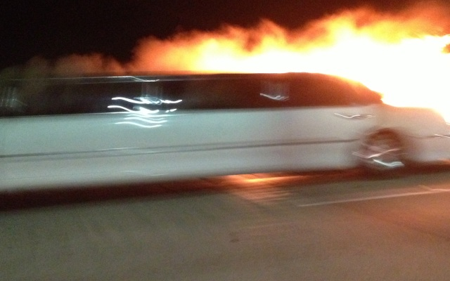 The limo fire was not preceded by a crash. It was not clear what sparked the fire.