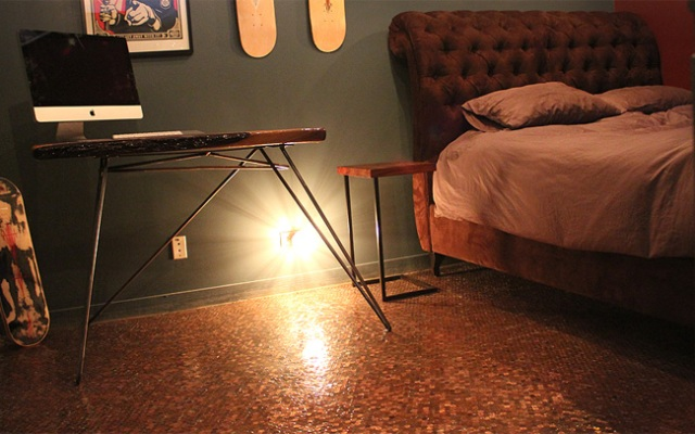 It cost $2.56 a square foot to create the penny floor -- minus the glue and other materials.