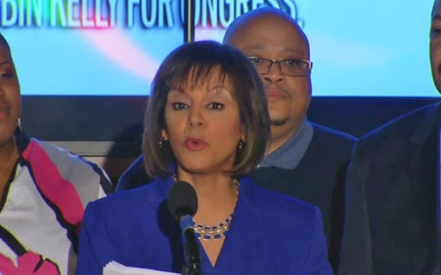 Robin Kelly addresses supporters during her victory speech from a hotel in Matteson, Ill.
