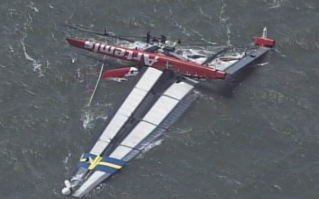 A 72-foot-long Swedish sailboat capsized Thursday while practicing for the upcoming America's Cup races in the San Francisco Bay, leaving one sailor dead and another injured. The team members were from Artemis Racing. May 9, 2013