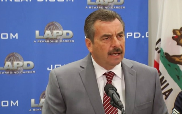 LAPD Chief Charlie Beck at a Feb. 19, 2013 news conference.