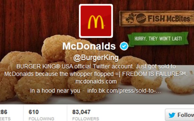 The hacked @BurgerKing Twitter account.