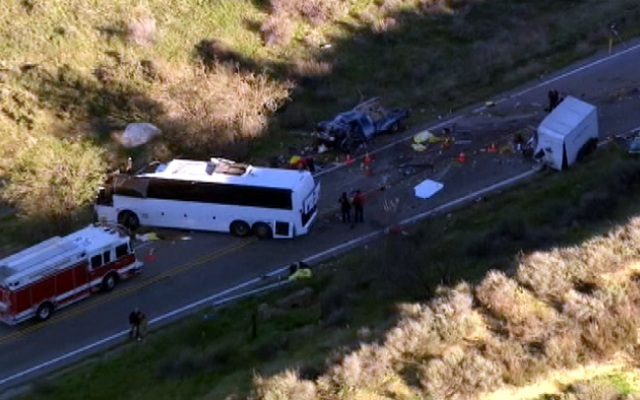 An aerial view of the tour bus crash site on Highway 38 near Mentone.