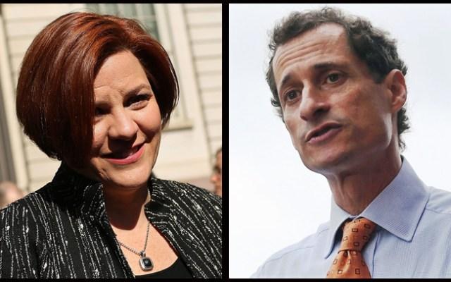 Christine Quinn, left, Anthony Weiner, right