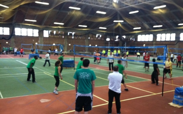 Dozens of teams compete in the 31st Annual Easter Seals Volleyball tournament at Trinity College in Hartford.
