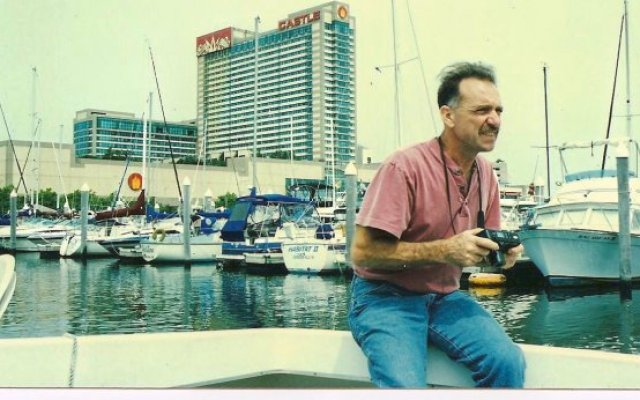 Picture of Danny Burroughs on a boat at the marina in Atlantic City, New Jersey.