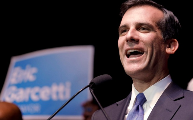 Eric Garcetti speaks during a election night rally on Tuesday, May 21, 2013 in Hollywood.
