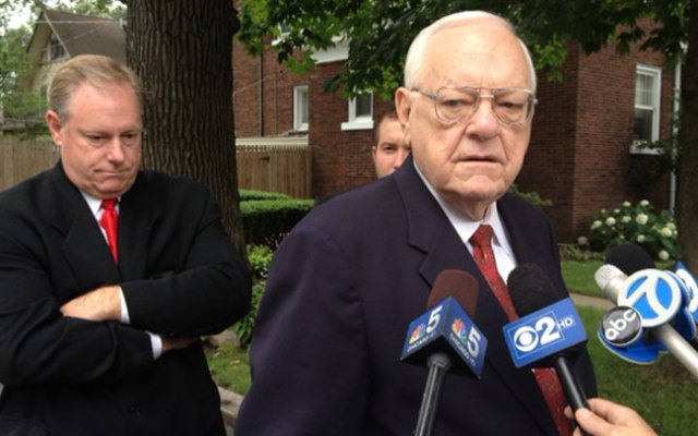 George Ryan speaks to reporters outside his Kankakee home on Wednesday, July 3, 2013 following his early release from federal custody.
