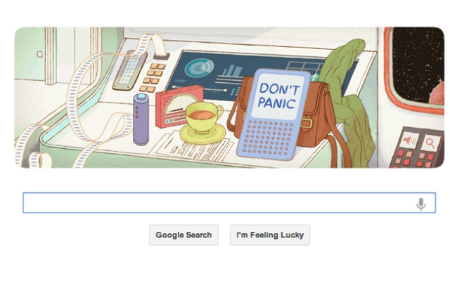 Google pays tribute to author Douglas Adams.
