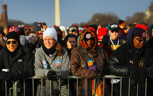 President Barack Obama will be ceremonially sworn in for his second term today, in front of a crowd of an estimated 700,000.