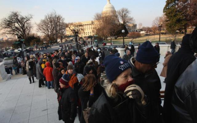 People waited in long lines to pick up their inauguration tickets, Jan. 19, 2009.
