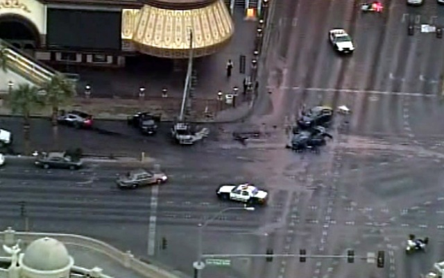 Aerial video from the site of a shootout and crash Thursday in Las Vegas.