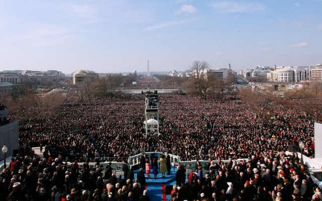 A view of the crowd on the National Mall during Barack Obama's inauguration in 2009, when the grass got trampled.