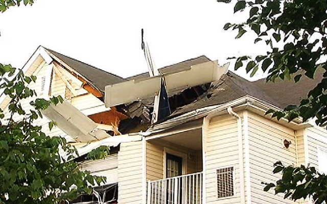 Two people were aboard the Cessna 177B when it crashed into a building at Dulles Greene Apartments, located in the 2200 block of Astoria Circle.