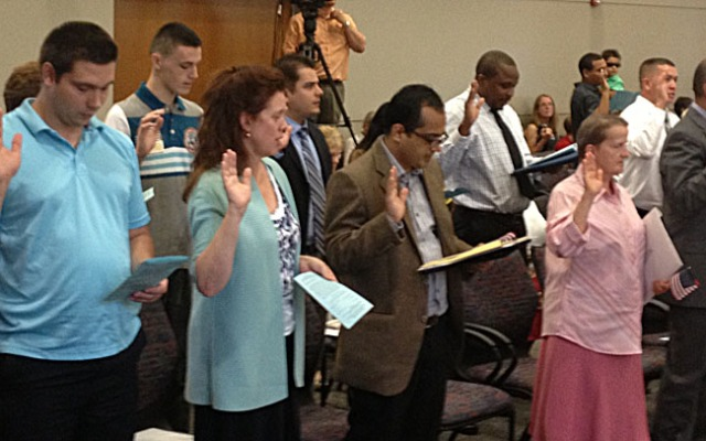 People from 31 countries around the world gained U.S. citizenship at a naturalization ceremony held in Middletown Wednesday.