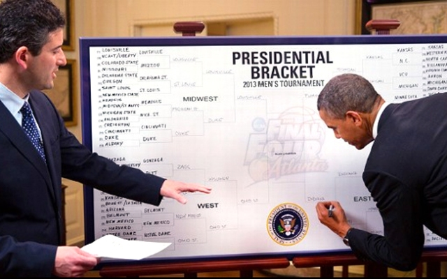 President Barack Obama has predicted that Louisville, Indiana, Ohio State and Florida will reach the Final Four in this year's NCAA tournament.