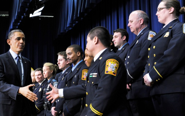 President Barack Obama greets first responders after speaking in the South Court Auditorium of the Eisenhower Executive Office building on the White House Complex in Washington, Tuesday, Feb. 19, 2013.