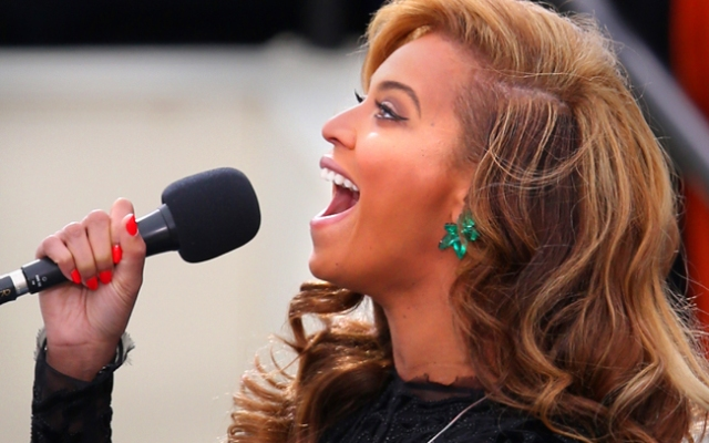 WASHINGTON, DC - JANUARY 21:  Singer Beyonce performs the National Anthem during the public ceremonial inauguration for U.S. President Barack Obama on the West Front of the U.S. Capitol January 21, 2013 in Washington, DC.   Barack Obama was re-elected for a second term as President of the United States.  (Photo by Mark Wilson/Getty Images)