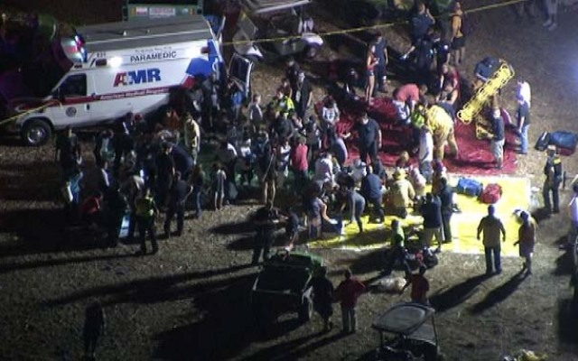 Emergency crews treat dozens of injured people after a