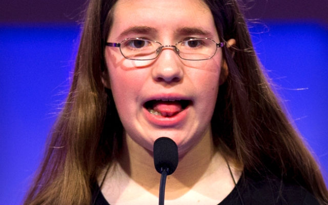 The Scripps National Spelling Bee is under way. Rachael Cundey, of Evans, Georgia, one of the 281 spellers who will compete for the 2013 National Spelling Bee title, spells the word