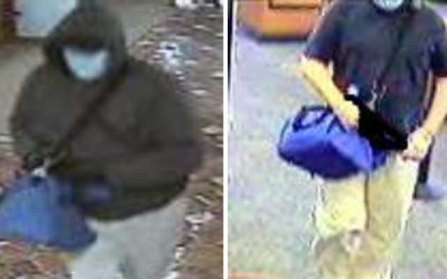 """The so-called """"Surgical Mask Bandit"""" is seen here in surveillance photos sent to Wells Fargo employees June 21, 2013. Five days after this alert was sent out, an employee at a Montebello branch called police on a mask-wearing cancer patient believing he may be the robber."""