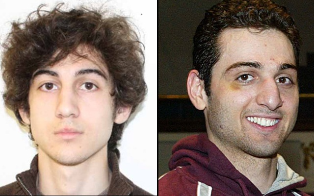 Dzhokhar A. Tsarnaev (left) and Tamerlan Tsarnaev are believed to be the men behind the bombings at the Boston Marathon. Tamerlan died early Friday in a firefight with police, while Dzhokhar remains at large.